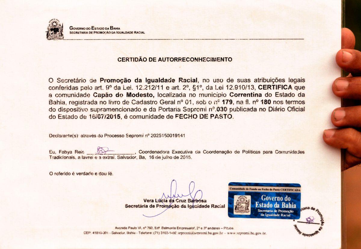 Documento oficial de Fecho de Pasto. Foto de Mirian Fichtner
