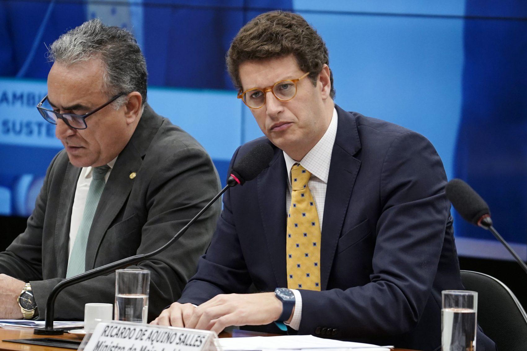 O ministro do Meio Ambiente, Ricardo Salles, em audiência na Câmara: 'a mudança climática não pode ser o tema principal de um ministério que tem que cuidar de temas que dizem respeito à qualidade de vida das pessoas' (Foto: Pablo Valadares/Câmara dos Deputados)