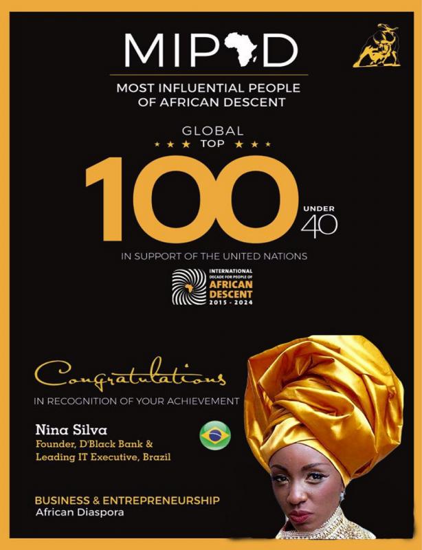 O prêmio 100 afrodescendentes mais influentes do mundo concedido a Nina Silva. Foto Reprodução