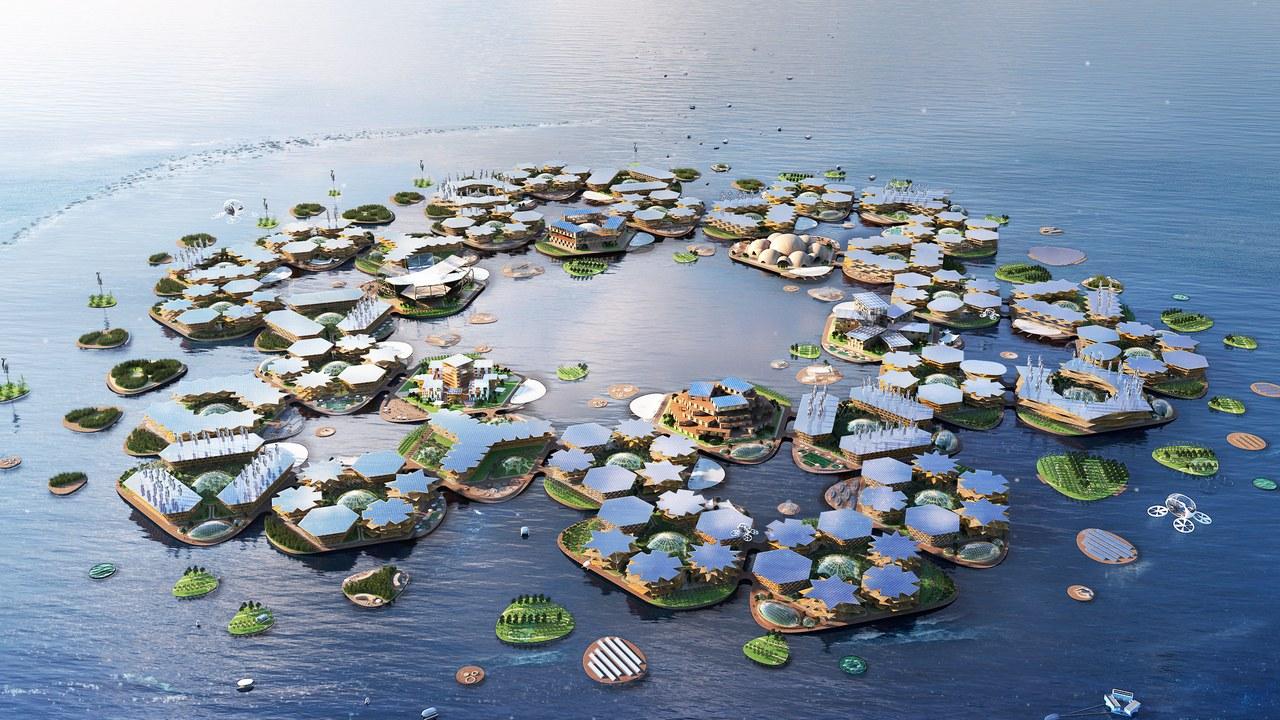 Projeto de ilhas flutuantes hexagonais com três vezes o tamanho de um campo de futebol, com populações de 300 pessoas em cada: alternativa para cidades costeiras a serem engolidas pela subida do nível do mar (Foto: Divulgação)