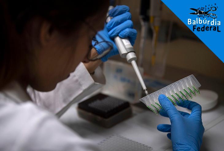 Estudante da Universidade Federal do Rio de Janeiro (UFRJ) trabalha no laboratório de biologia. Foto Mauro Pimentel/AFP