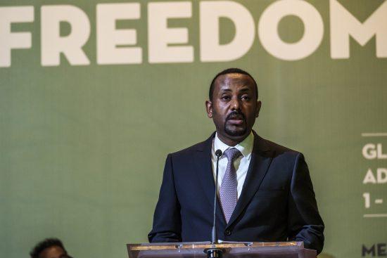 Abiy Ahmed, primeiro-ministro da Etiópia na cerimônia do Dia Mundial da Liberdade de Imprensa, organizada pela Unesco: esperança de democracia em um dos países mais pobres do mundo (Foto Eduardo Soteras/AFP)
