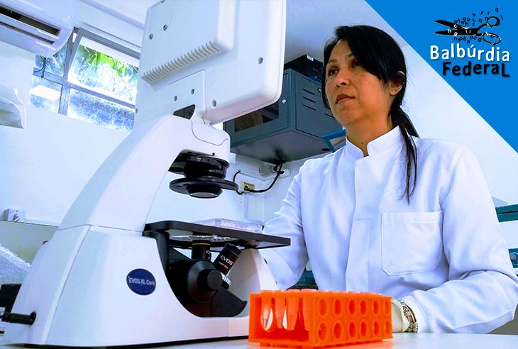 A pesquisadora Flora Milton no laboratório do campus da UFF em Nova Friburgo: pesquisa aponta para relação entre agrotóxicos e aumento de acúmulo de gordura no organismo (Foto Divulgação/UFF)