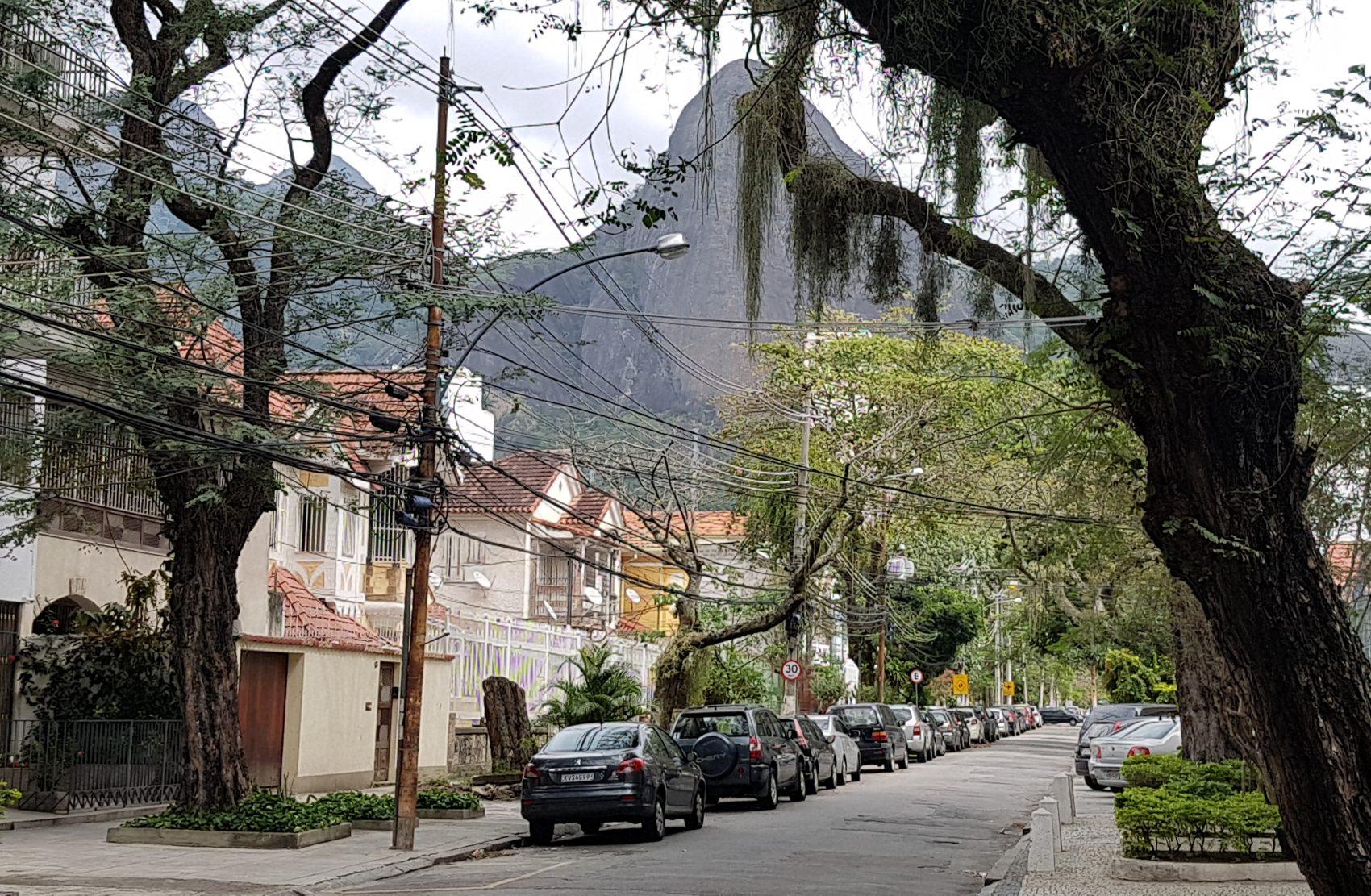 Rua do Grajaú com suas árvores e casas e o Parque Estadual ao fundo: cenário de bairro que conseguiu resistir à avalanche imobiliária (Foto: Oscar Valporto)