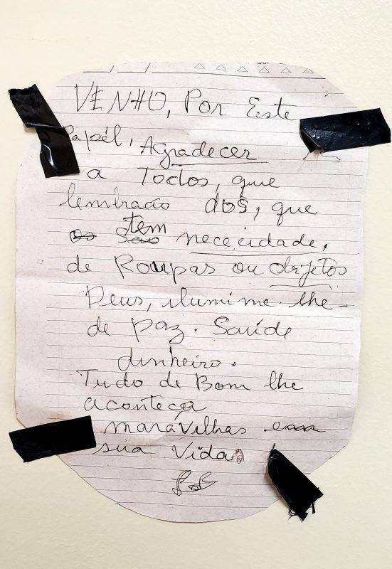 Carta de agradecimento de um pessoa beneficiada pelo Muro da Gentileza. Foto Acerto do Colégio São Vicente
