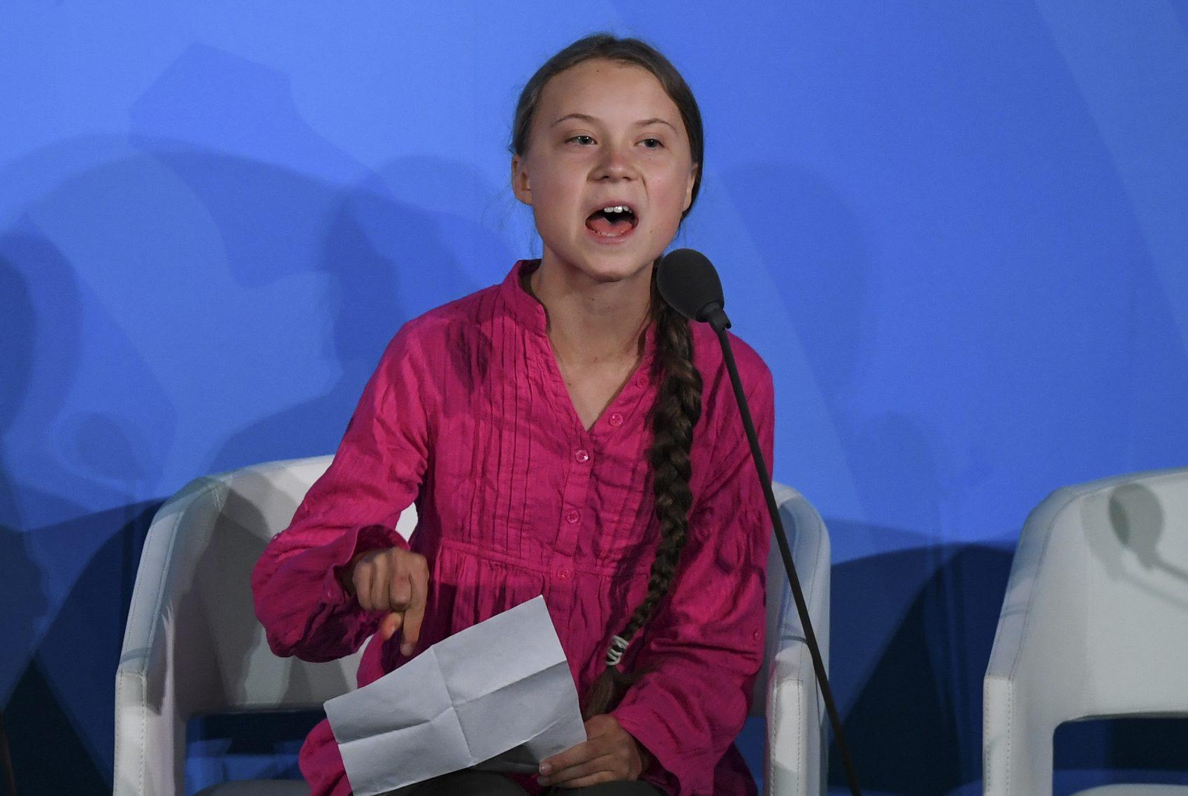 A ativista sueca Greta Thunberg discursa durante a Cúpula do Clima na ONU no dia 23 de setembro (Foto: Timothy A. Clary / AFP)