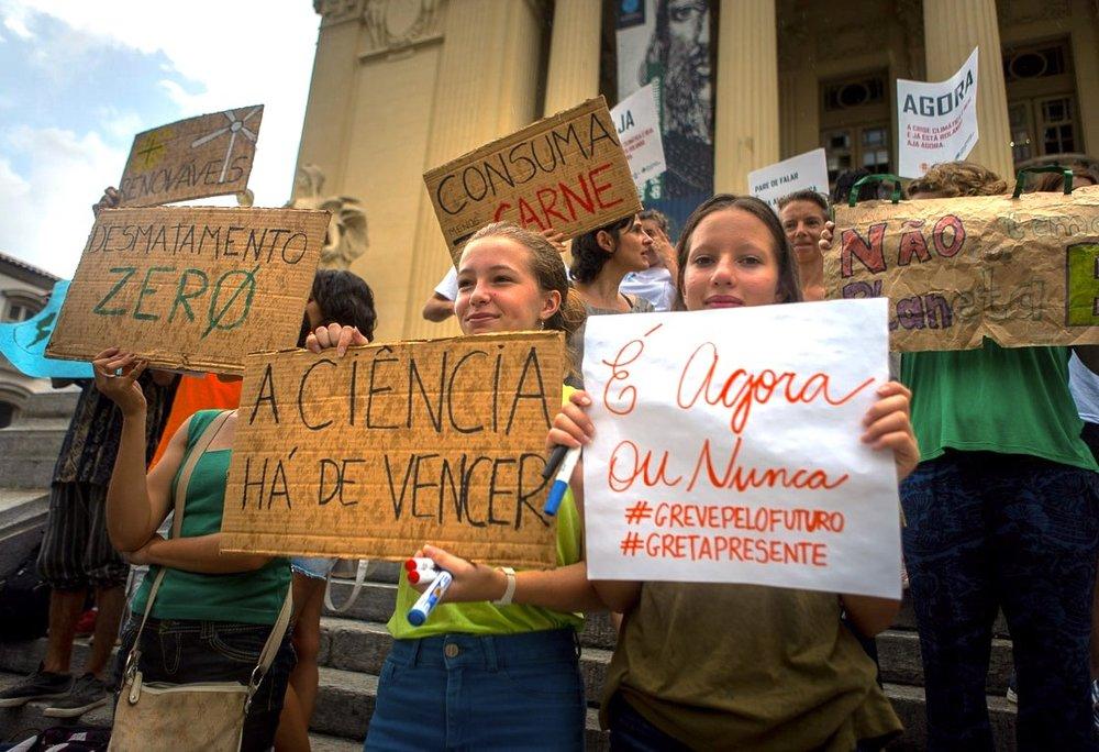 Manifestação da Fridays For Future pela emergência climática em maio no Rio: movimento em crescimento (Foto: Divulgação)