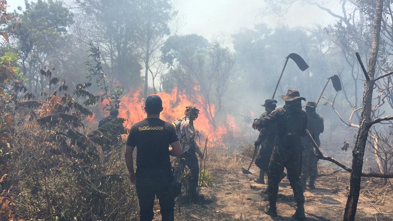 Voluntários da brigada de incêndio se revezam no combate às chamas. Foto Lauria de Sousa