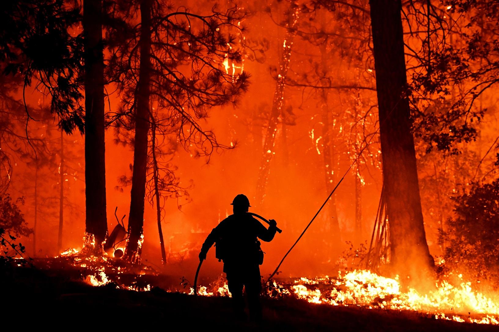 Bombeiros tentam controlar o fogo que em 2018, atingiu a Shasta Trinity National Forest, na Califórnia. Foto Josh Edelson/AFP