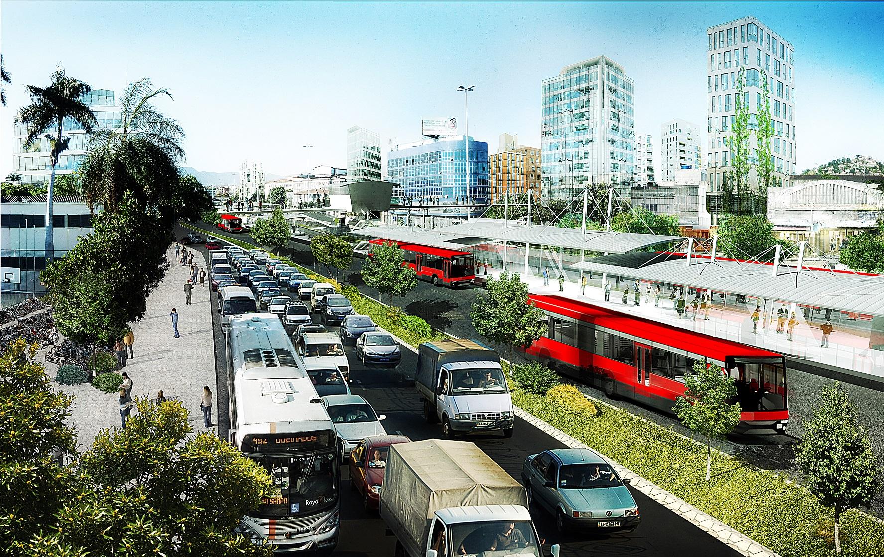 Projeto do ITDP Brasil, feito em 2013, mostra o potencial de transformação no entorno da Avenida Brasil. Foto Reprodução/ITDP Brasil