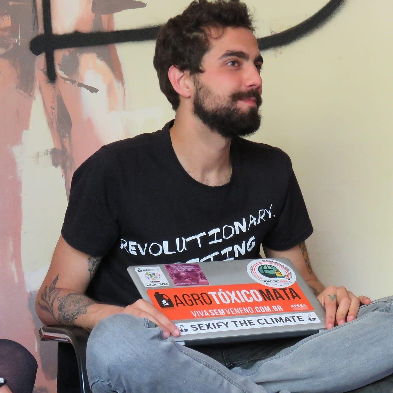 João Henrique Cerqueira, 27 anos, em ação do Engajamundo: representante brasileiro na Cúpula da Juventude pelo Clima na sede da ONU em Nova York (foto: Arquivo Pessoal)