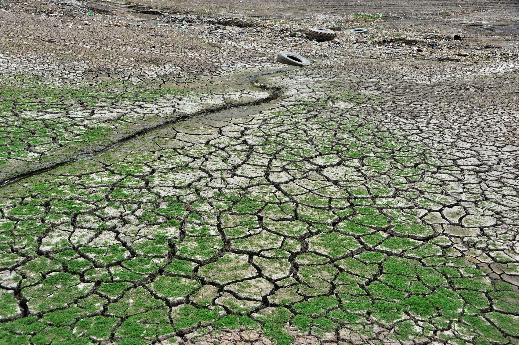 Reservatório de Los Laureles que abastece metade dos 1,2 milhão de moradores da capital de Honduras, Tegucigalpa, afetado pela seca: água a cada quatro dias (Foto Orlando Sierra/AFP)