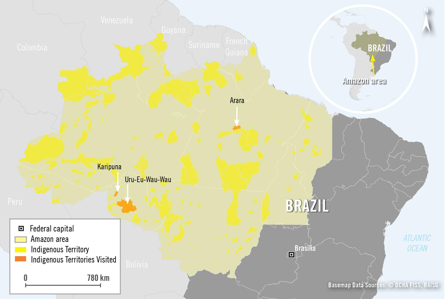 Mapa da Região Amazônia indicando as três áreas indígenas visitadas pela Anistia Internacional. Reprodução