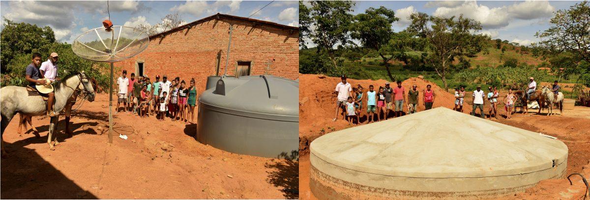 Aparecida e a cisterna de produção. Foto de Mirian Fichtner