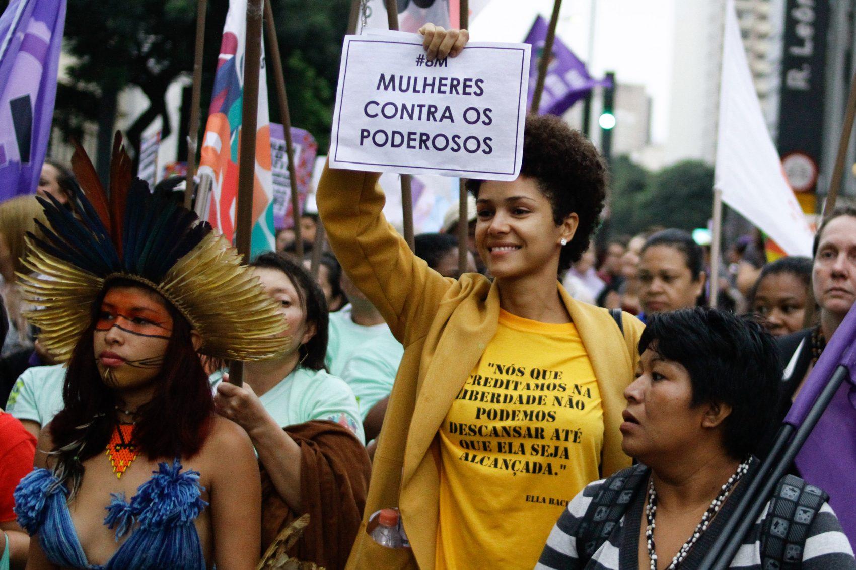 Feministas promovem protestam na Avenida Paulista no Dia das Mulheres do ano passado (Foto: Fábio Vieira / FotoRua / AFP)