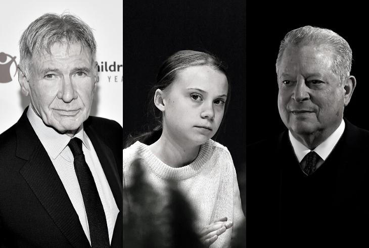 O ator Harrison Ford, o Nobel da Paz Al Gore e a jovem ativista Greta Thunberg estiveram nesta terça-feira na COP25 (Fotos: AFP)