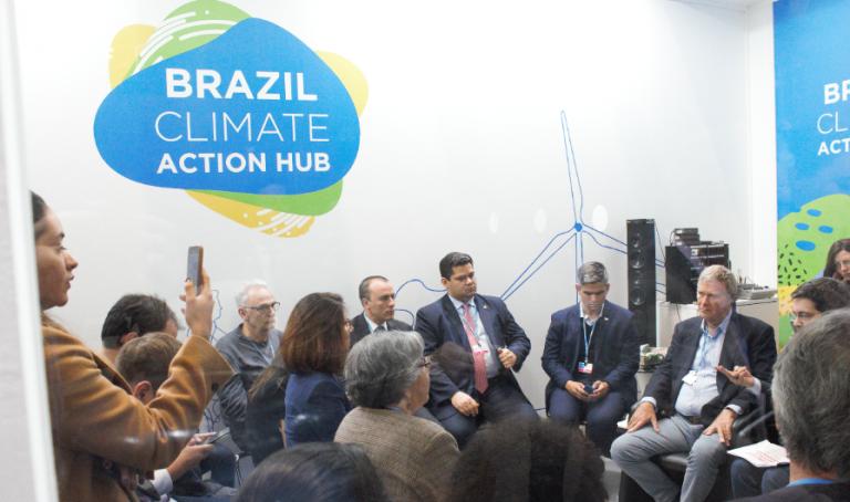 Davi Alcolumbre na COP25. Foto de Liana Melo