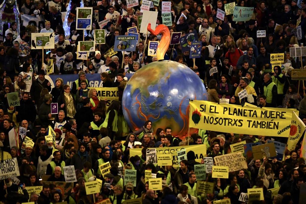 Marcha do clima em Madrid, na COP25. Foto de Gabriel Bouys/ AFP