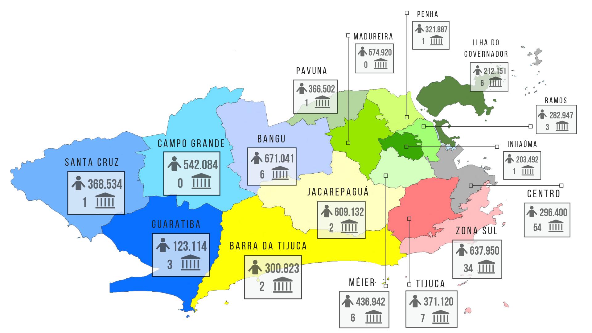Mapa mostra a distribuição desigual dos museus pela cidade. Foto Reprodução