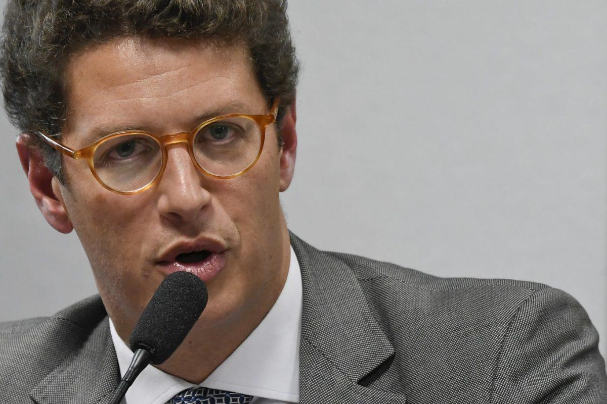 Ministro do Meio Ambiente, Ricardo Salles, em depoimento no Senado. O ministério bloqueou 95% da verba do clima. Foto Mateus Bonomi / AGIF