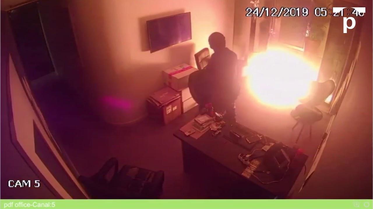 Câmera capta momento de explosão do coquetel molotov na produtora: autor do atentado diz que não teme cadeia (Foto; Reprodução)