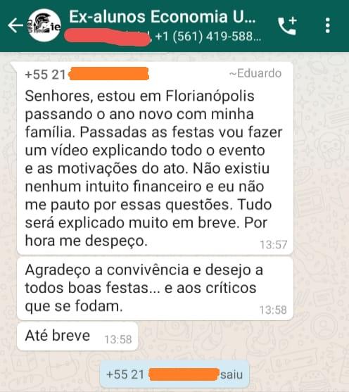 Mensagem de Fauzi no grupo de whatsapp no grupo de ex-alunos de Economia da UFRJ (Foto: Reprodução)