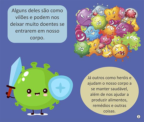 Página do livro ensinando como são os vírus: ilustrações para atingir o público infantil (Foto: Reprodução)
