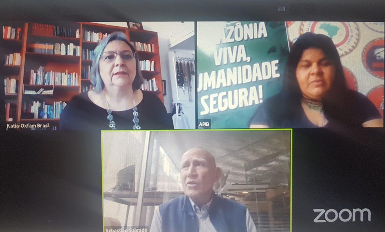 Sonia Guajajara e Sebastião Salgado com Katia Maia, da Oxfam, em debate virtual: críticas ao governo pela falta de proteção aos indígenas na pandemia (Reprodução)