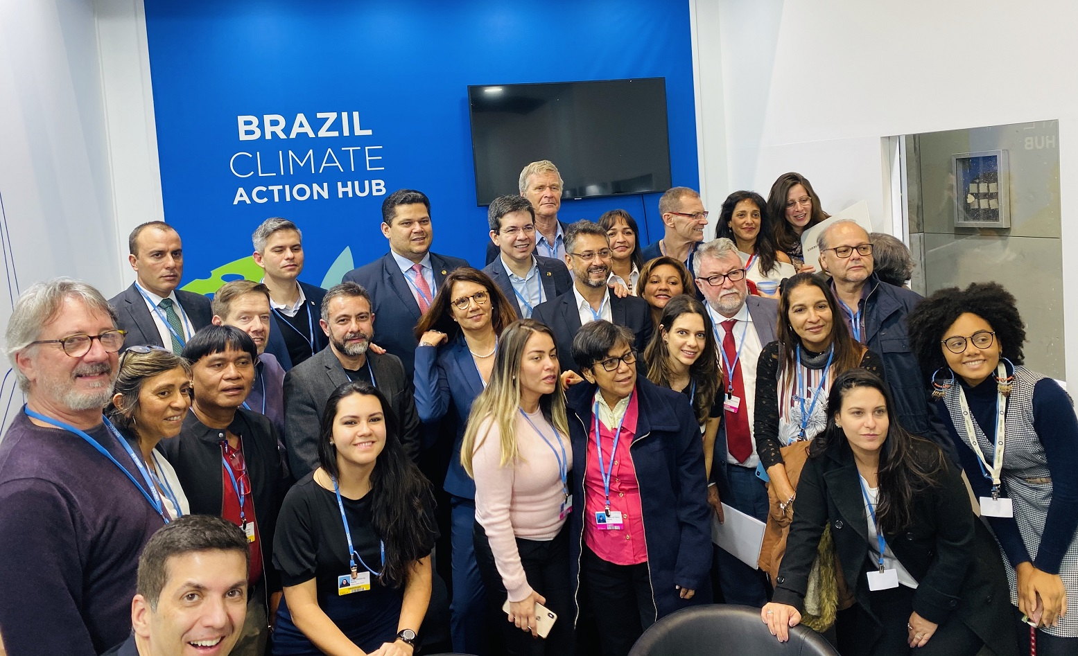 Alfredo Sirkis e ambientalistas brasileiros na COP 25, em Madri (2019). Foto Arquivo Pessoal