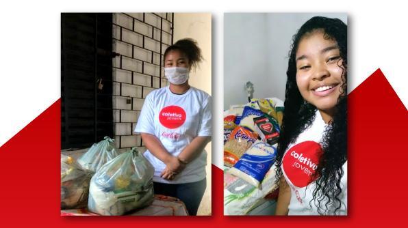 Gyselle Faustino recebe cesta básica