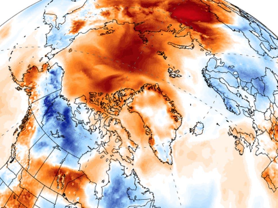Nas áreas em vermelho escuro, a temperatura está até 10 graus acima da média desde maio (Reprodução: Universidade do Maine)