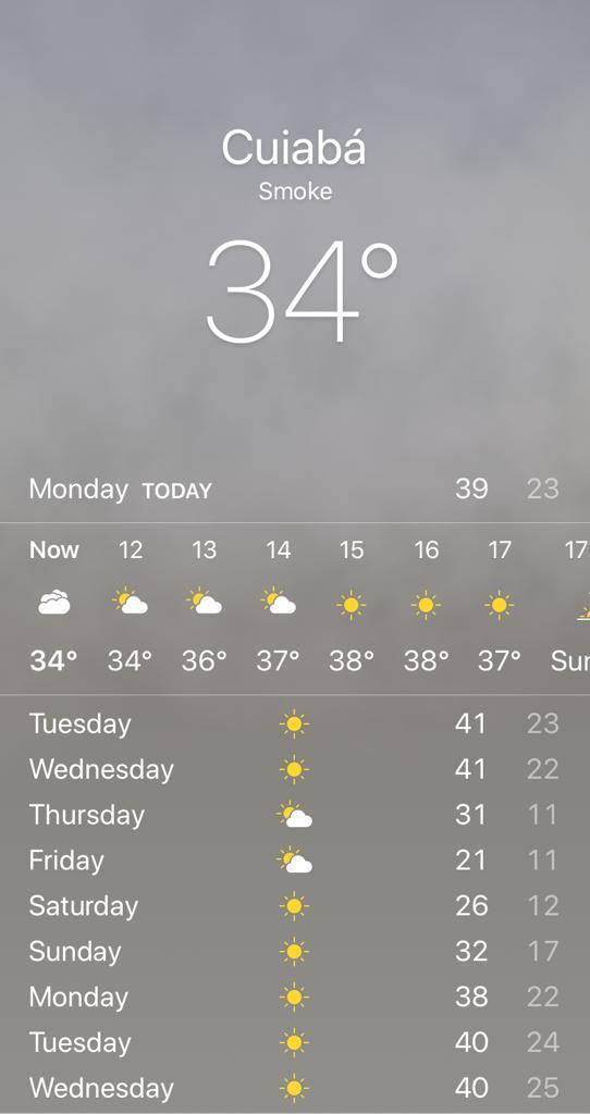 """A previsão do tempo no aplicativo: """"smoke"""" ou """"fumaça"""". Reprodução"""