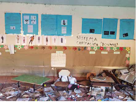 Mural na Escola Municipal Caetano Barbosa, em Paracatu de Baixo: devastação. Foto de Cristina Serra