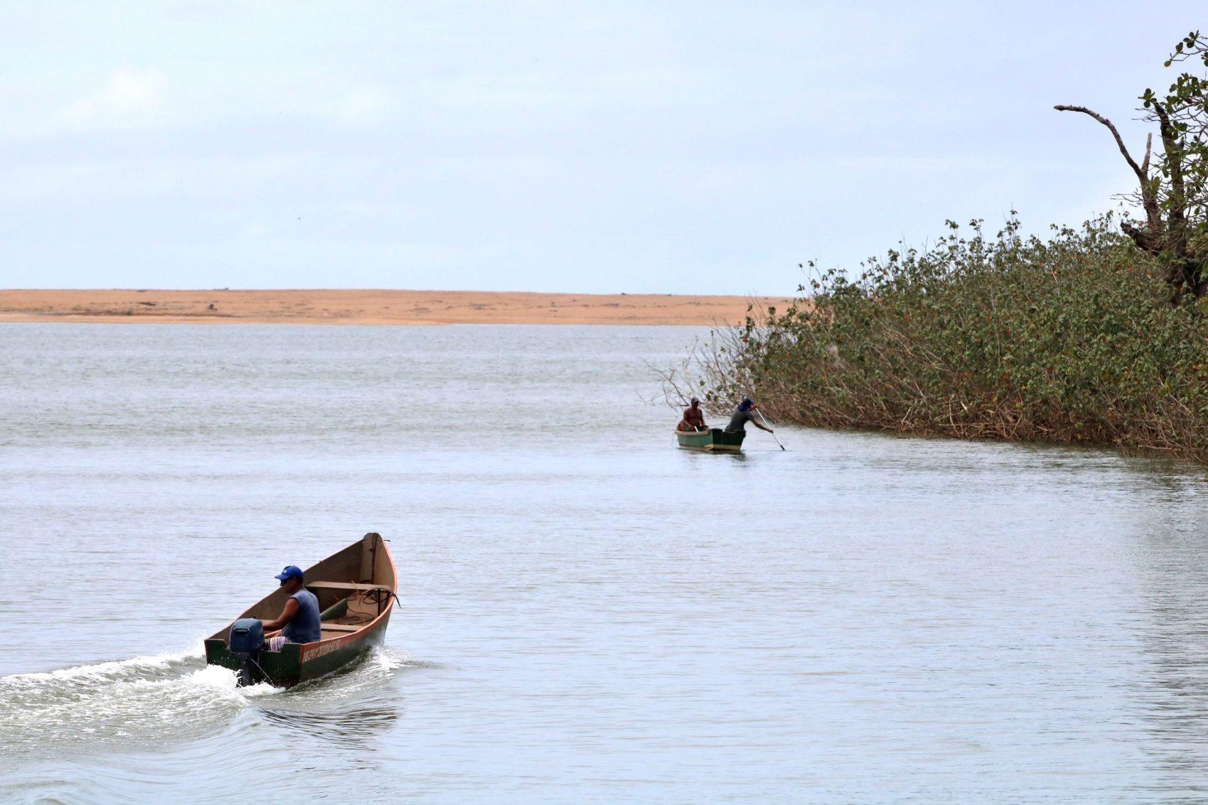 Barcos na foz do Rio Doce em novembro: contaminação crônica por metais resultante da lama de rejeitos da barragem da mineradora da Samarco (Foto: Tânia Rego/Agência Brasil)