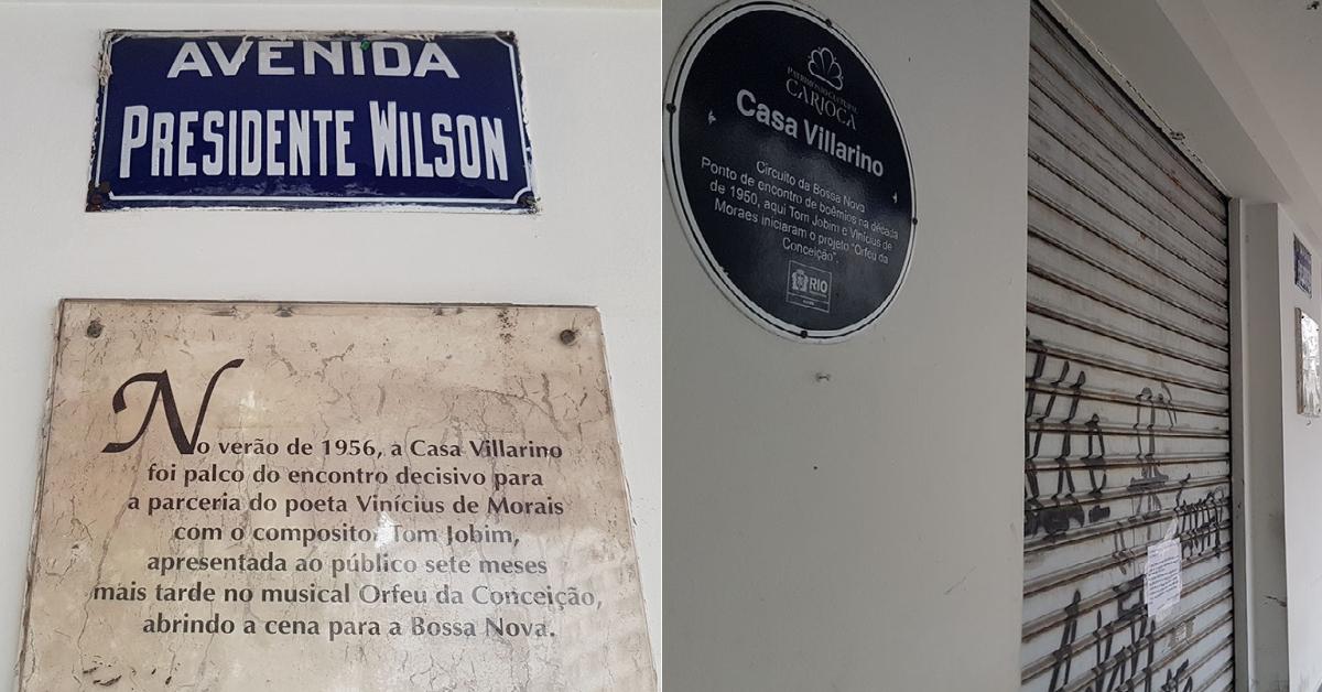 Placas comemorativas na fachada do VIllarino: história perdida no Centro em agonia (Foto: Oscar Valporto)