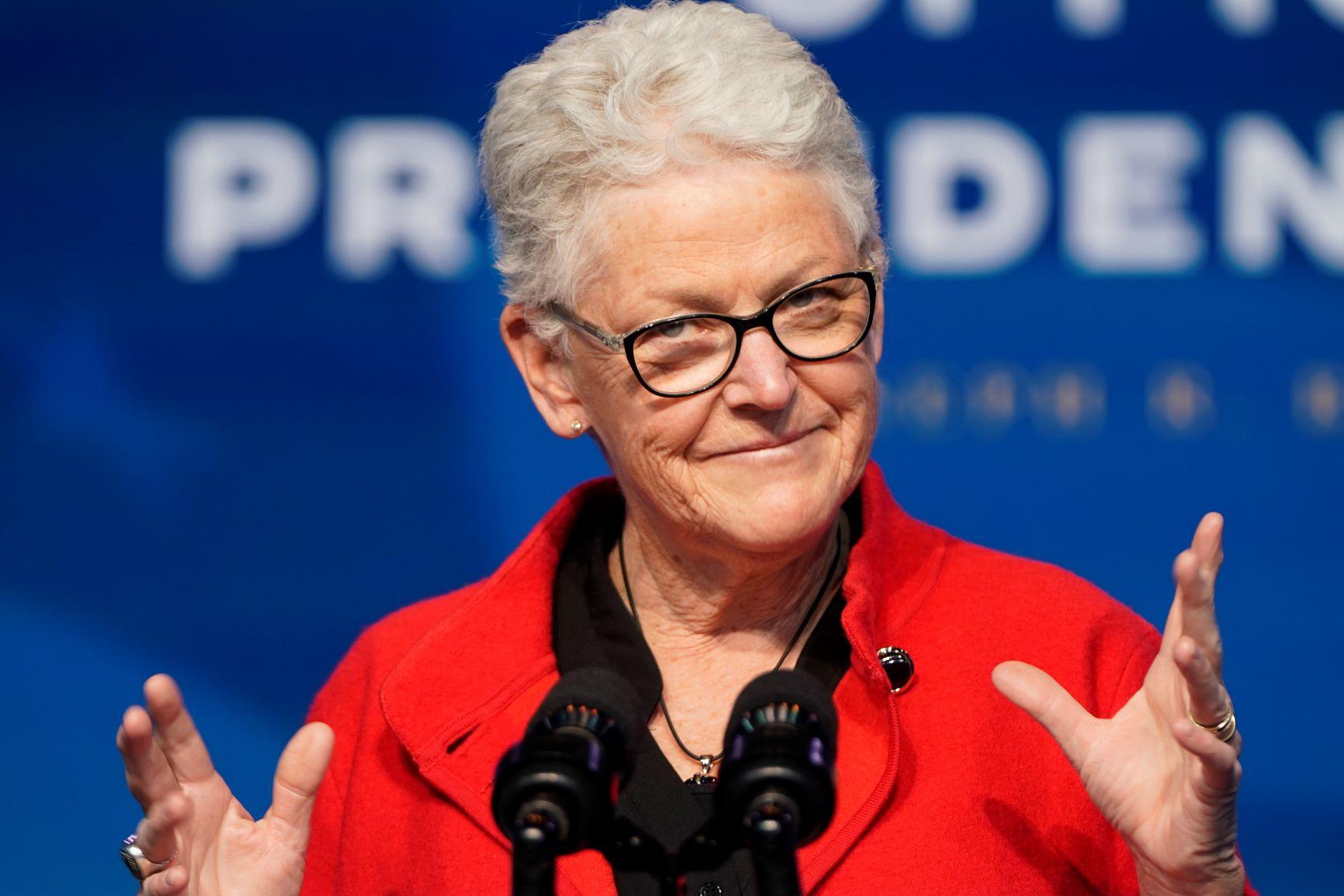 Conselheira Especial para o Clima de Biden, Gina McCarthy na apresentação do time climático do novo presidente: ex-administradora da EPA no governo Obama (Foto: Joshua Roberts/Getty/AFP - 19/12/2020)