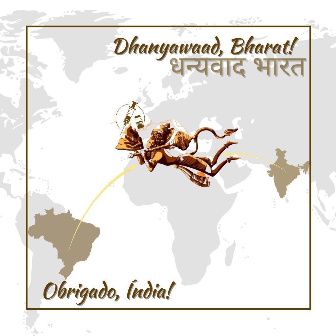 No post de Bolsonaro, a popular divindade Hanuman, deus macaco e herói do épicoRamayana: bajulação tardia. Reprodução
