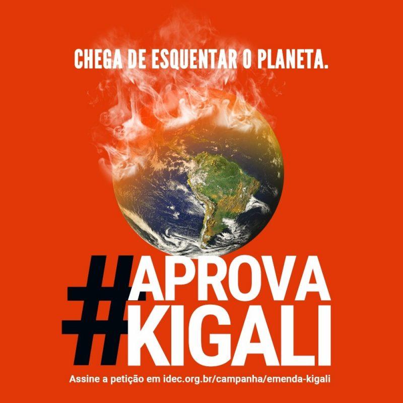 Redução na conta de luz: cartaz pedindo a aprovação da Emenda de Kigali