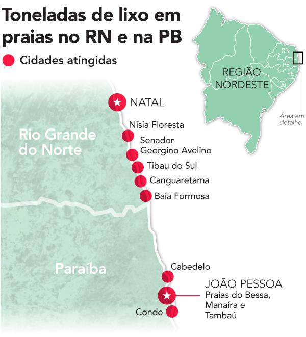 Praias atingidas pelas ondas de lixo na Paraíba e no Rio Grande do Norte (Arte: Fernando Alvarus)