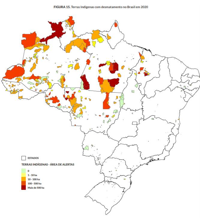 Terras Indígenas com alertas de desmatamento: aumento alarmante de 31% em 2020 (Arte: MapBiomas)