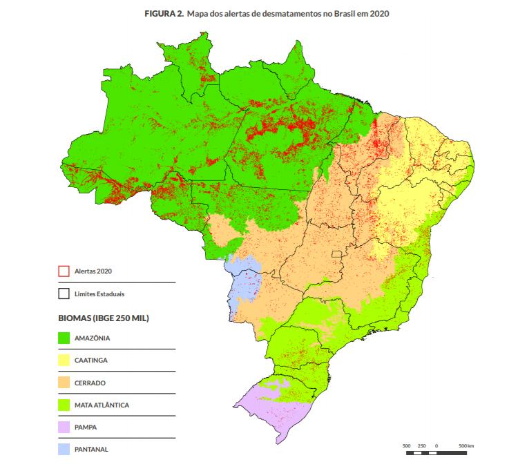 Registro de alertas no Brasil em 2020: desmatamento aumentou 13,6% cnos seis biomas (Arte: MapBiomas)