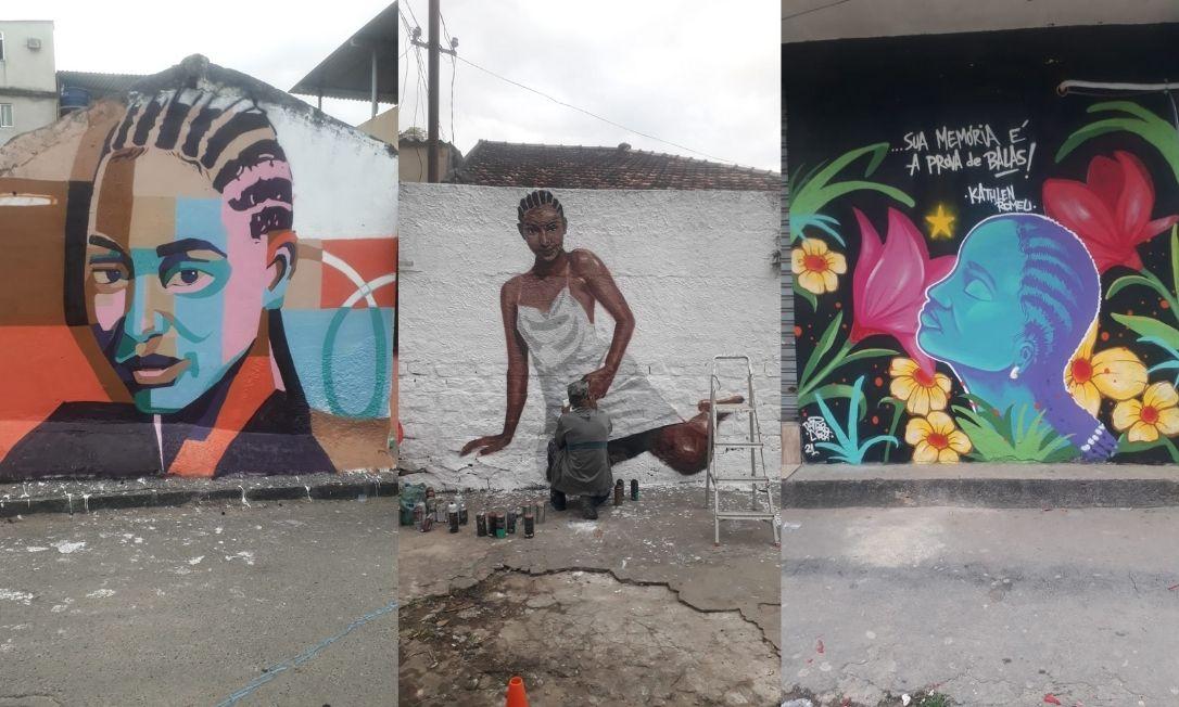 Memorial em homenagem à Kathlen leva cores e mensagens políticas aos muros do bairro onde foi atingida (Foto: Monique Messias de Souza/ Portal Catarinas)