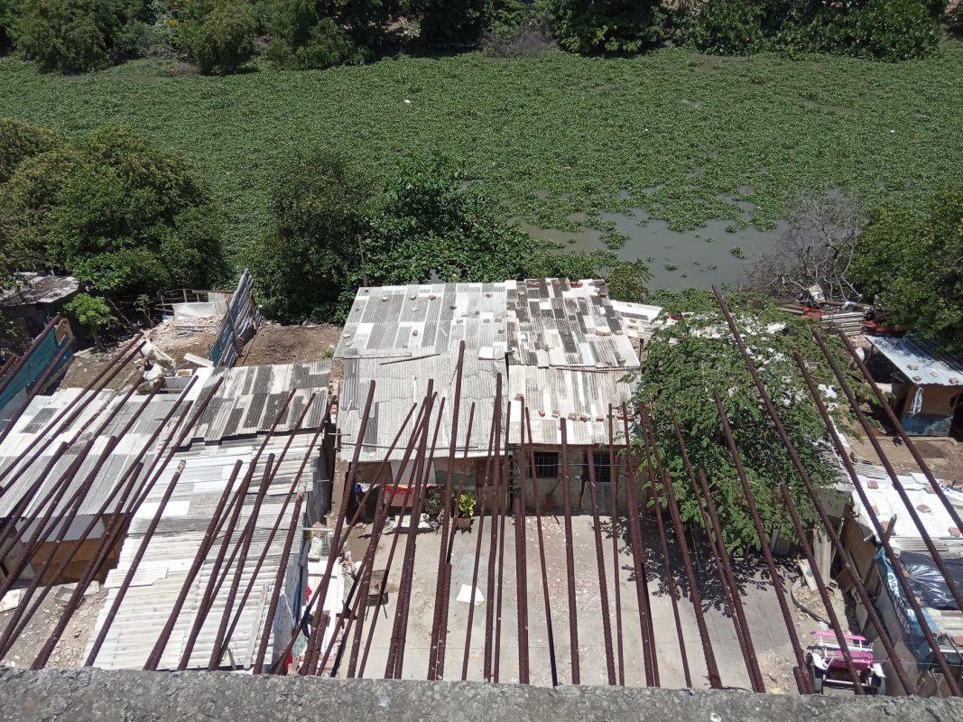 Rio Capibaribe visto do alto de uma ponte abandonada