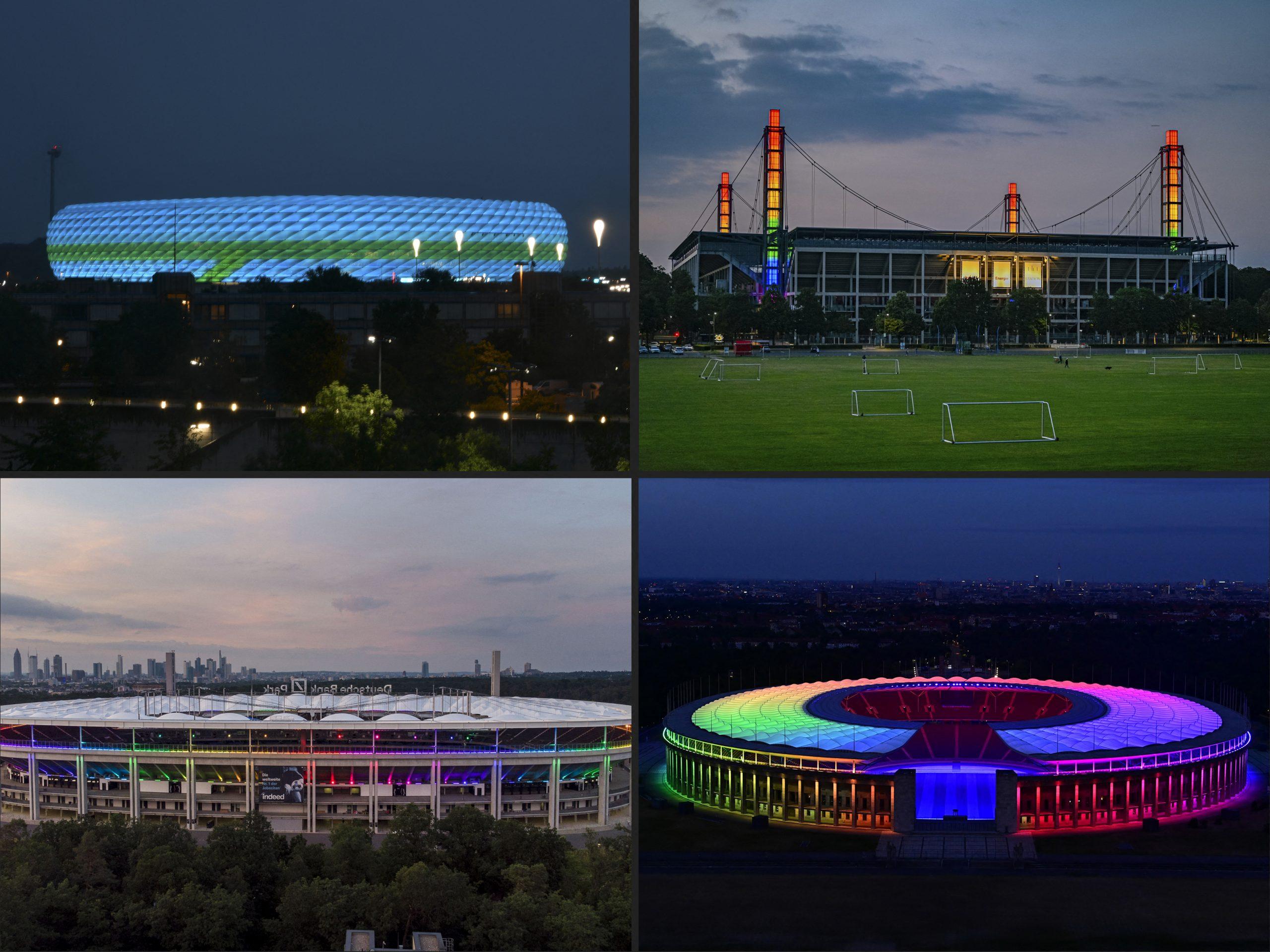 Estádio alemães iluminados com as cores do arco-íris: resistência à intolerância. Fotos da AFP