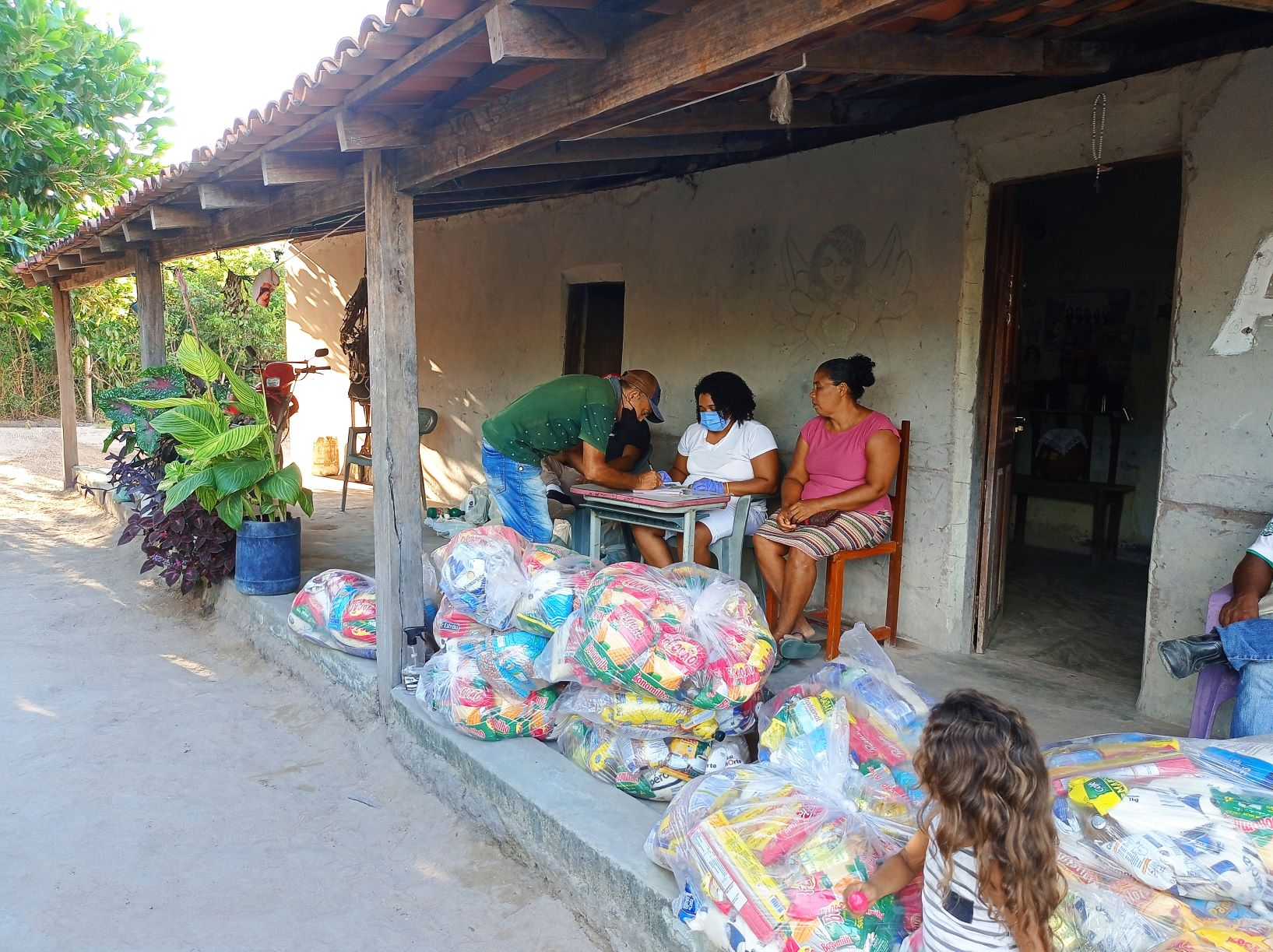Entrega de alimentos no interior do Piauí: avanço da fome, retrocesso brasileiro no caminho dos Objetivos do Desenvolvimento Sustentável (Foto: Luzilene Lopes Pereira / Divulgação / Action Aid)