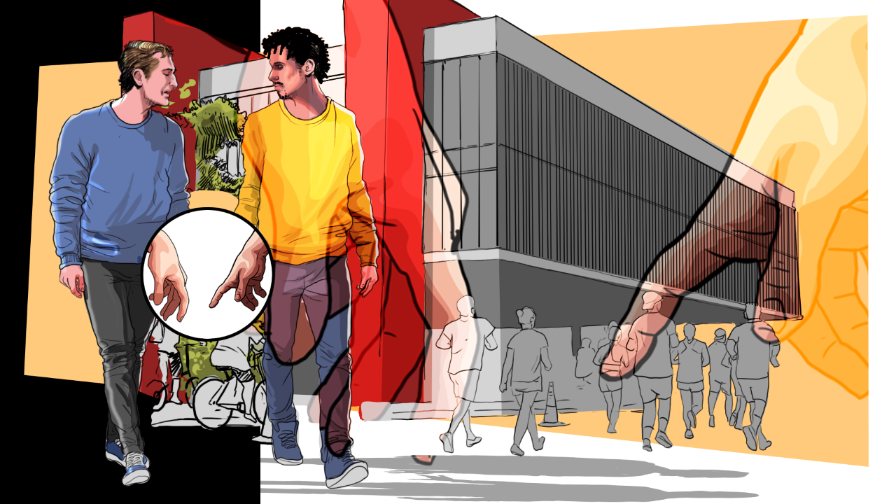 Em crônica, Vinícius Grossos mostra como o simples gesto de dar as mãos nas ruas pode ser perigoso para casais LGBT+ (Ilustração: Claudio Duarte)