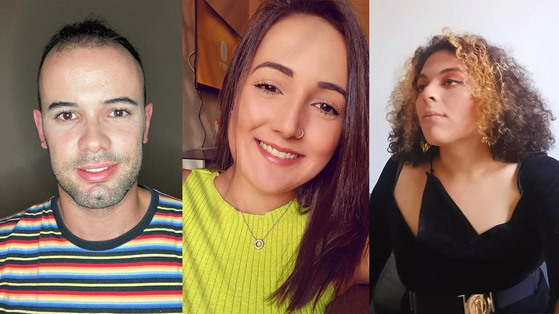 """Tiago Marques, Angélica Menezes e Olívia Cruz. """"A nossa sexualidade é vivida por nós"""", ele defende. (Fotos: Arquivo pessoal)"""