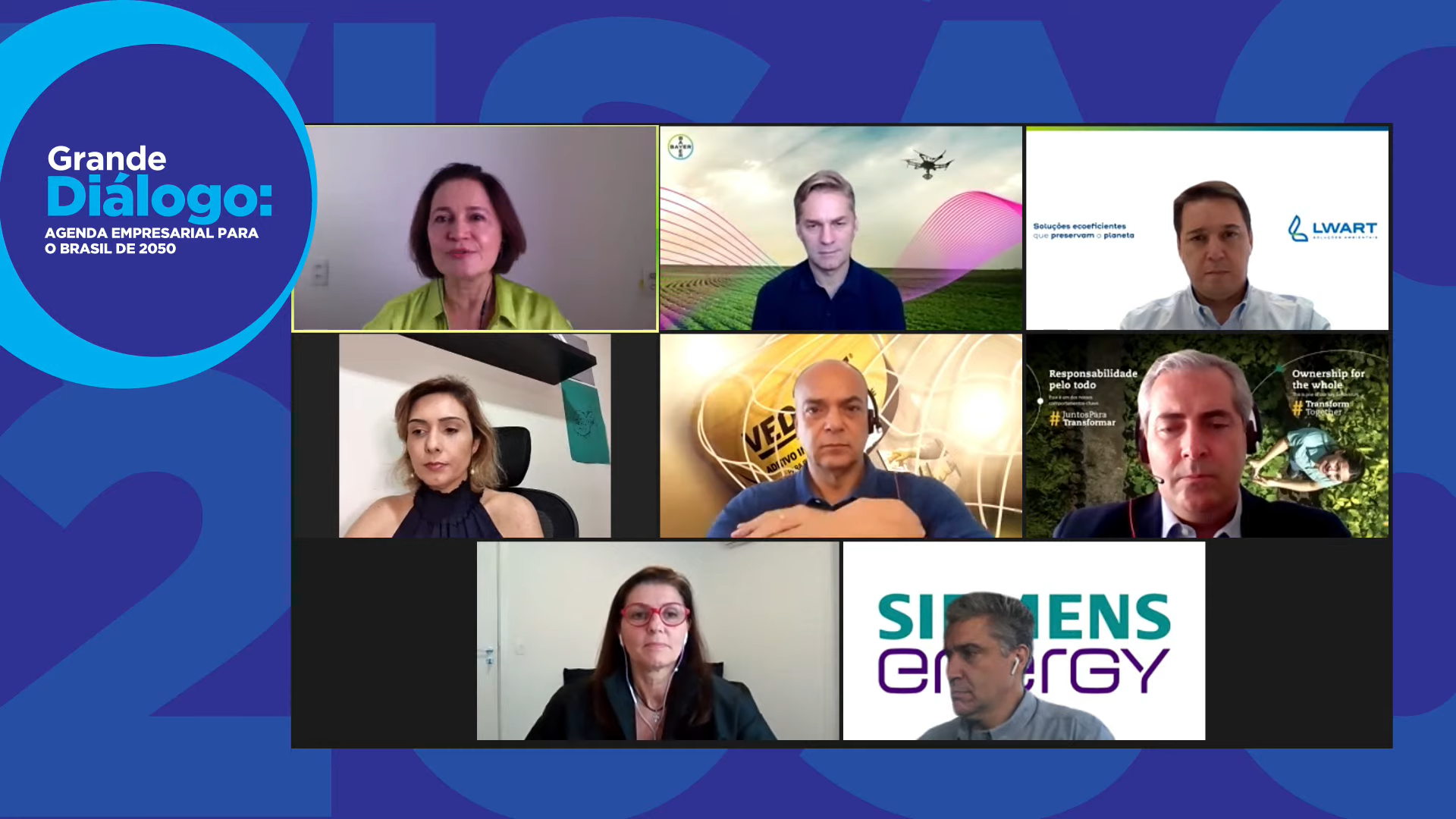 Marina Grossi, do CEDBS, e executivos no lançamento da Visão 2050: empresas por um futuro sustentável, regenerativo, distributivo, responsável e inclusivo (Foto: Reprodução/YouTube)