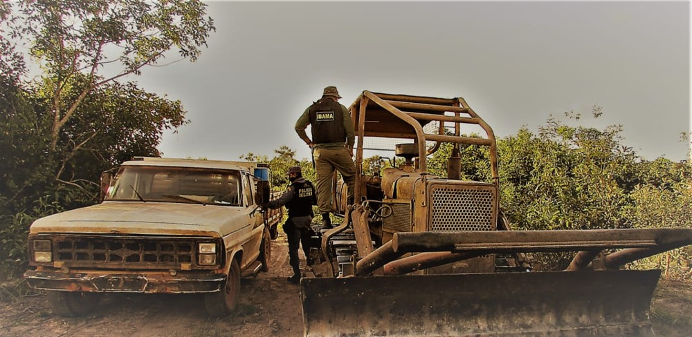 Operação do Ibama em Mato Grosso com apoio da PM: empoderamento de policiais em fiscalização tem apoio de ministro (Foto: PMMT - 15/06/2020)