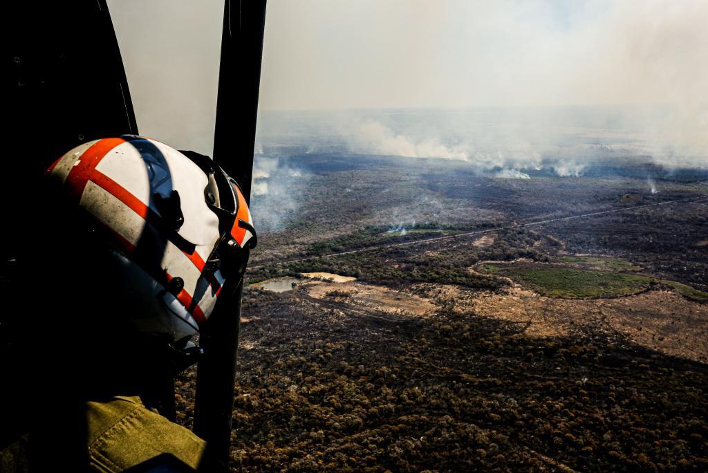 Focos de incêndio no Pantanal de Mato Grosso em 2020: contratação de horas de voo para combate às queimadas (Foto: Mayke Toscano / SemaMT - 18/09/2020)